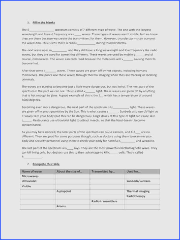 Several Electromagnetic Spectrum Worksheets by uksp0ng3 Teaching Resources Tes