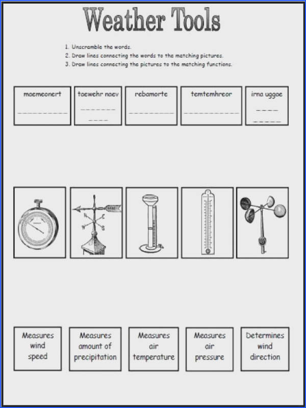 Weather Tools Worksheet This could be a great worksheet to use after going over the different tools we use to measure weather