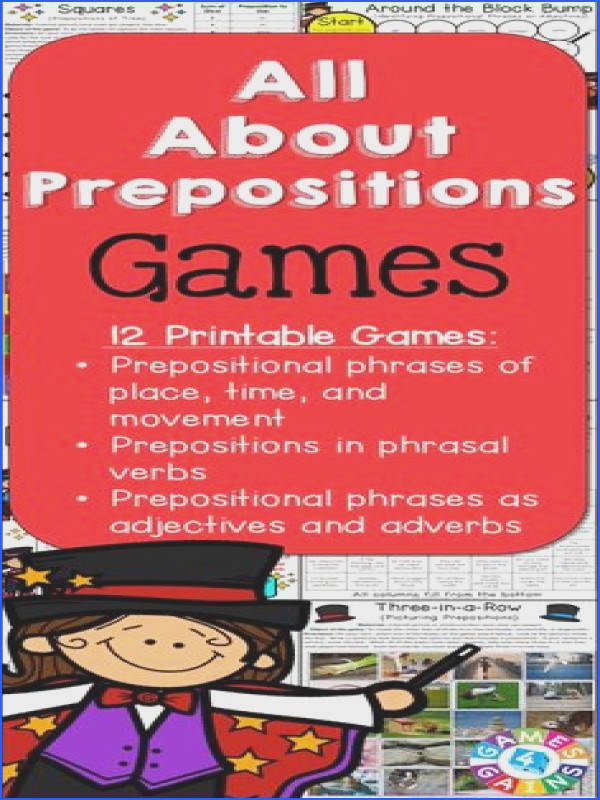 Looking for fun ways to practice prepositions and prepositional phrases This Prepositions Games packet contains