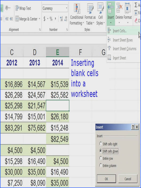 Insert Cells into a Worksheet in Excel