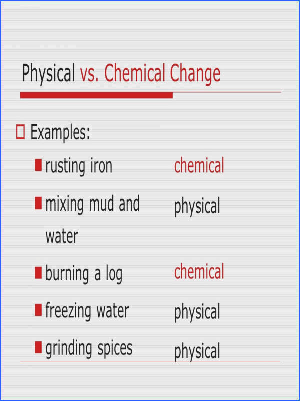 chemical changes worksheet