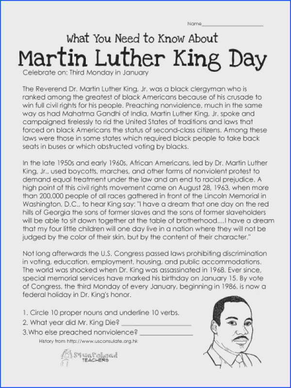 What You Need to Know About Martin Luther King Day Worksheet Image Below Martin Luther King Jr Worksheets