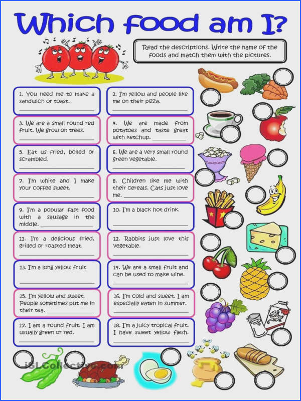 WHICH FOOD AM I vocabulary practice worksheet Free ESL printable worksheets made by teachers