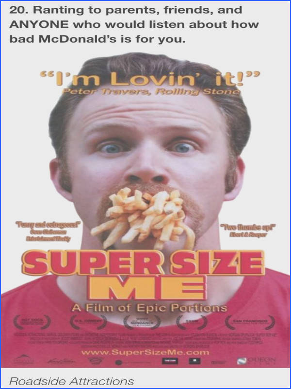 While examining the influence of the fast food industry Morgan Spurlock personally explores the consequences on his health of a t of solely McD…