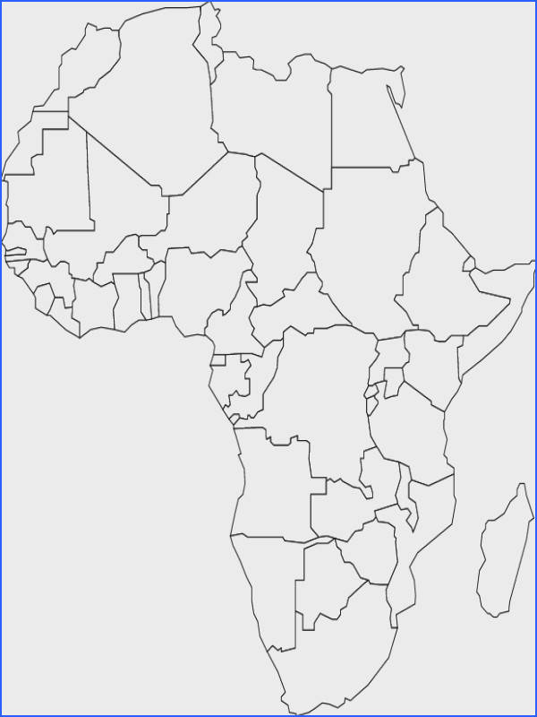 White outline printable Africa map with political labelling borders etc