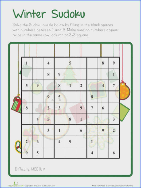 Worksheets Winter Sudoku