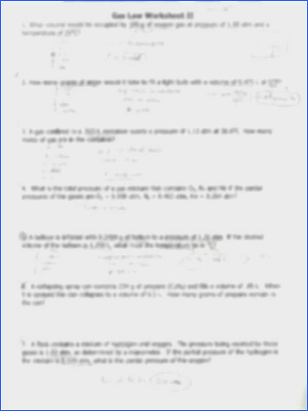 Wksheet Gas Laws 91 1r Gas Law Worksheet Ii 1 What Volume Would Image Below Gas Laws Worksheet