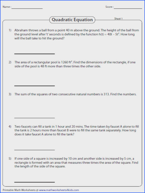 Word Problems Involving Quadratic Equations Image Below Function Worksheets