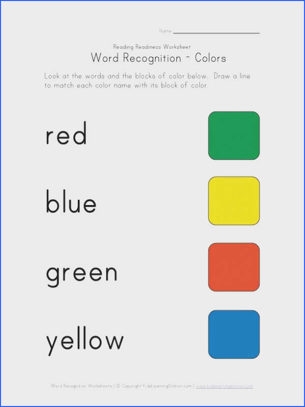 word recognition worksheet colors
