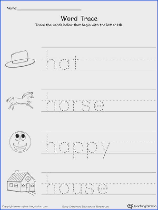 child to learn letter sounds by practicing saying the name of the picture and tracing the uppercase and lowercase letter H in this printable worksheet