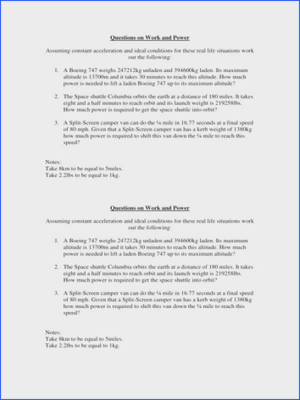 Work and power calculations worksheet by ncrumpton Teaching Resources Tes