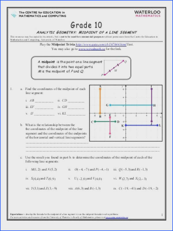 Grade 10 Analytic Geometry Midpoint of a Line Segment