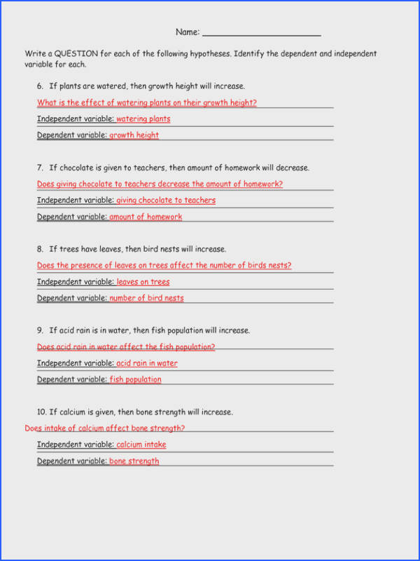 HYPOTHESIS WORKSHEET ANSWERS by stariya