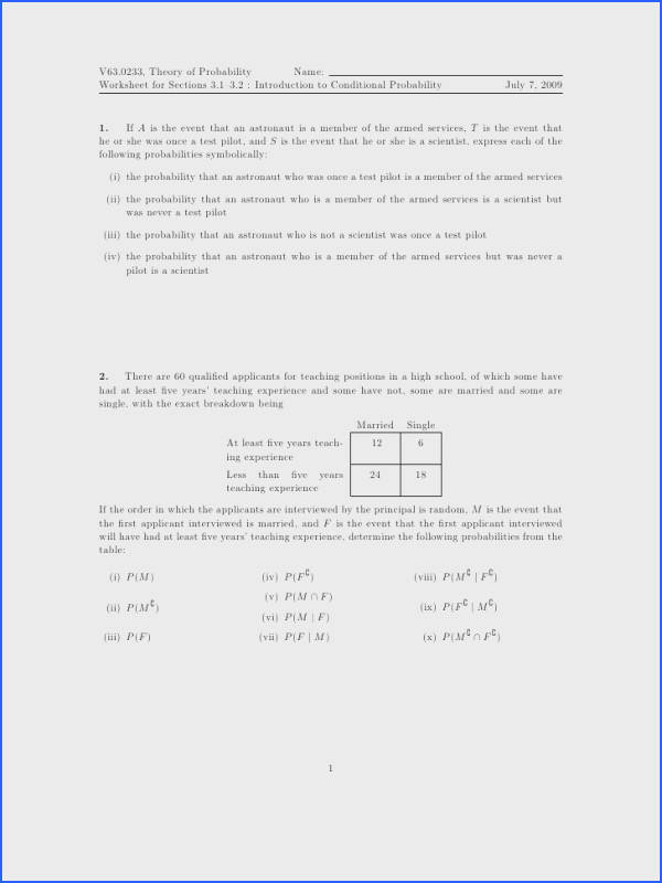 V63 0233 Theory of Probability Name Worksheet for Sections 3 1–3 2