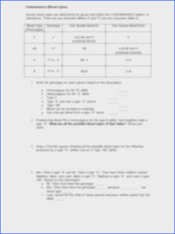 Collection of Codominance Worksheet Blood Types browse – In plete and Codominance Worksheet