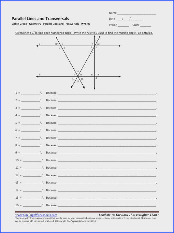 Grade Parallel Lines And Transversals Worksheet 05 e – Parallel Lines and Transversals Worksheet