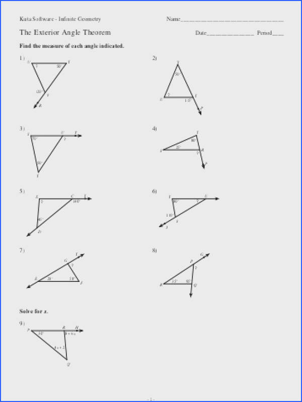 worksheet triangle sum and gallery of art exterior angle theorem worksheet