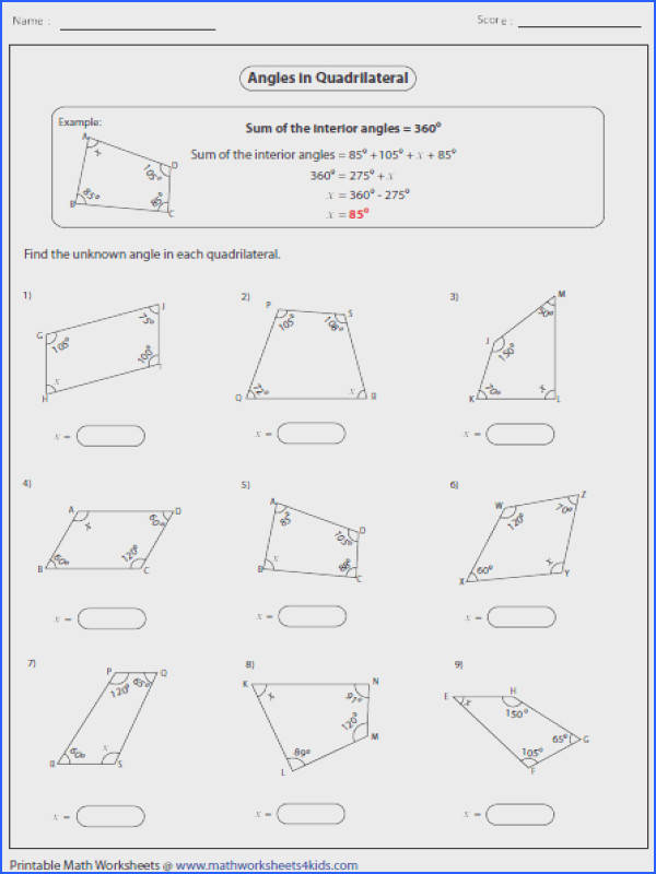 Formidable Worksheets Angles In Polygons For Missing Angles In Polygons Worksheet Free Worksheets Library