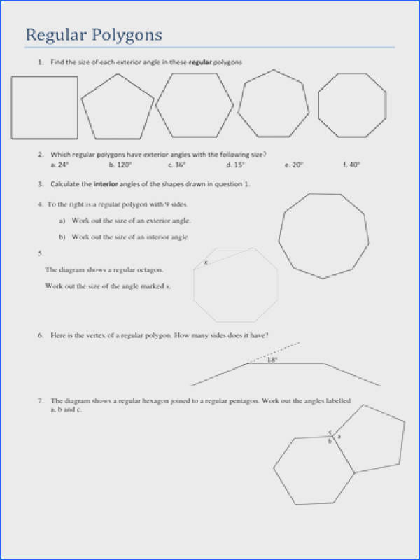 Pleasing Worksheets Angles In Polygons With Maths Gcse Worksheet Using Angle Facts By Tristanjones