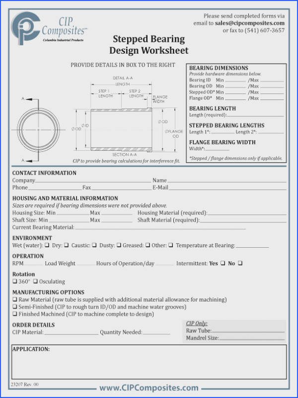 Stepped Bearing Design Worksheet