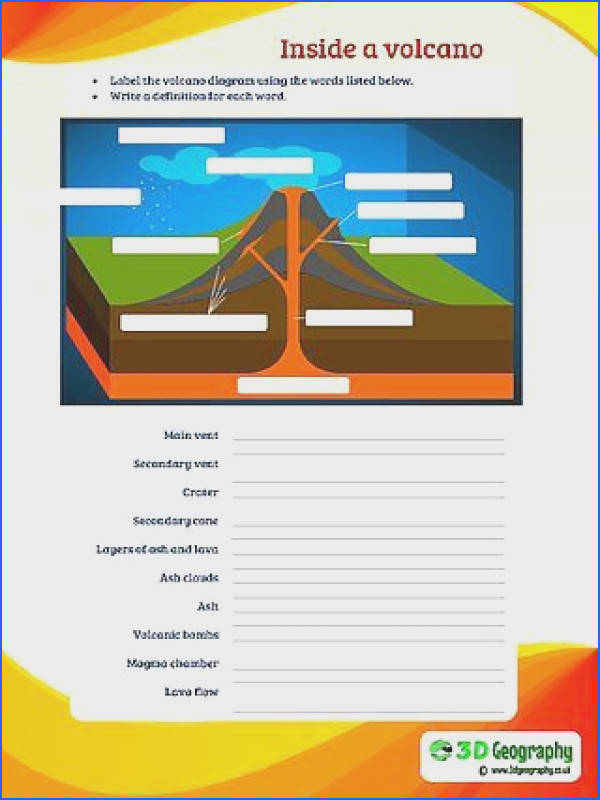 worksheets Volcano