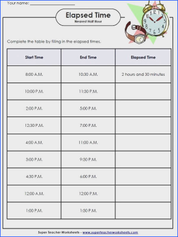 Endearing Worksheets For Elapsed Time To The Hour Elapsed Time Worksheets Math Time Worksheets