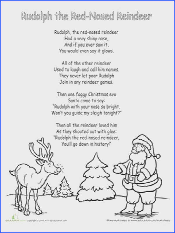 Rudolph the Red Nosed Reindeer Lyrics Worksheet
