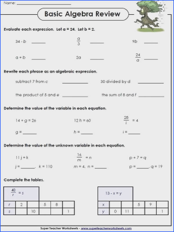 "Basic Algebra Printables""""sc"" 1""st"" ""Super Teacher Worksheets"