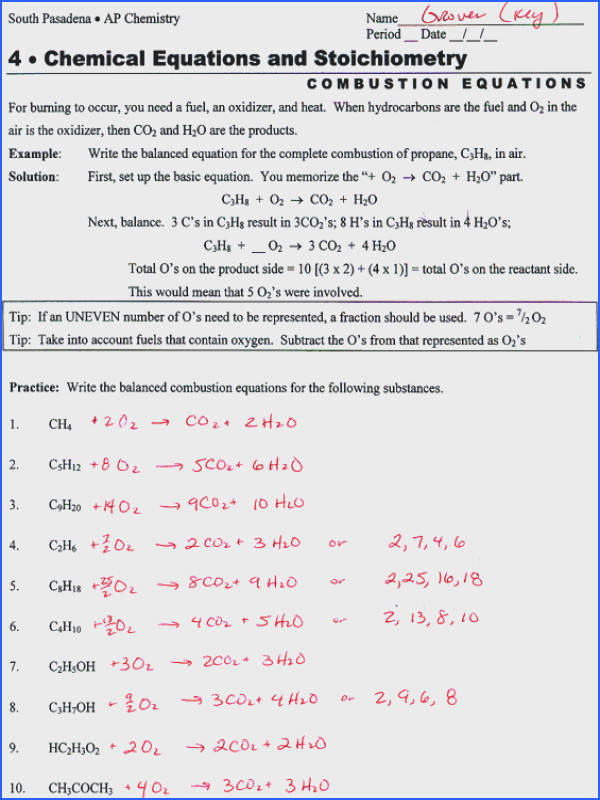 Writing And Balancing Chemical Reactions Worksheet Worksheets for all Download and Worksheets