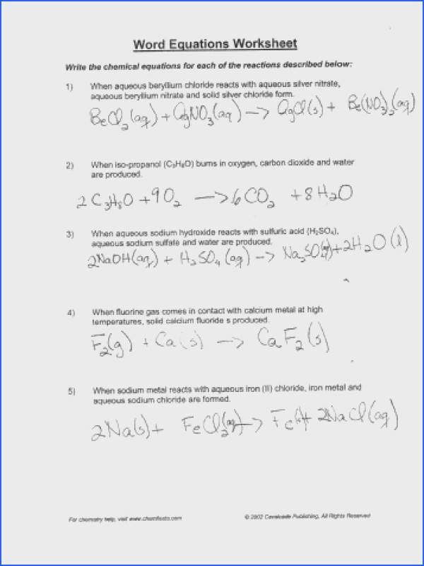 Writing Chemical Equations Worksheet Answers