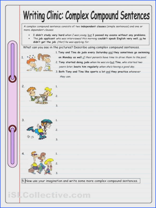 Writing Clinic plex pound Sentences worksheet iSLCollective Free ESL worksheets