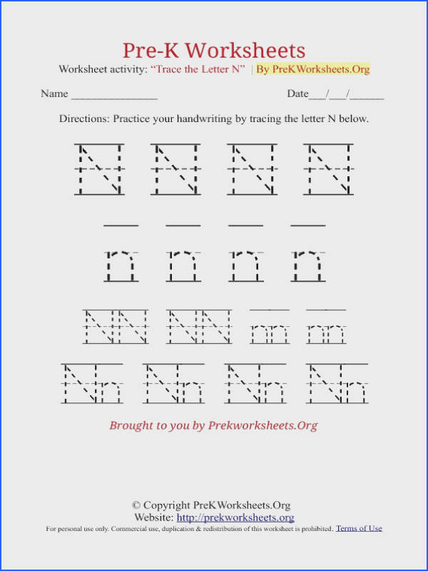 Writing for Beginners Worksheets Fresh Pre K Tracing Worksheet N Letter sound Sheets Writing