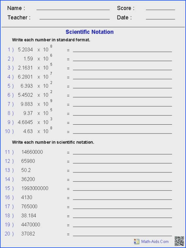 Scientific Notation Place Value Worksheets