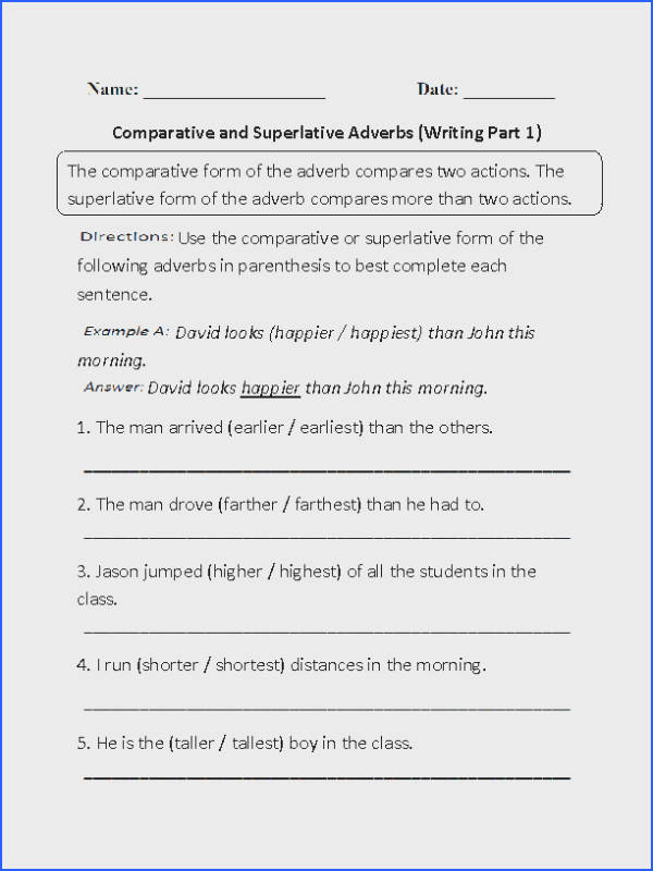 This is our parative and superlative adverb worksheet section An adverb is a word that describes a verb adjective or another adverb