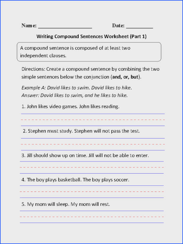 Writing pound Sentences Worksheet Part 1