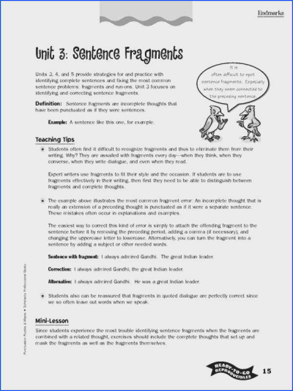 Free Sentence Fragment worksheets from Scholastic Week 1 Great resource and info for activities and lessons