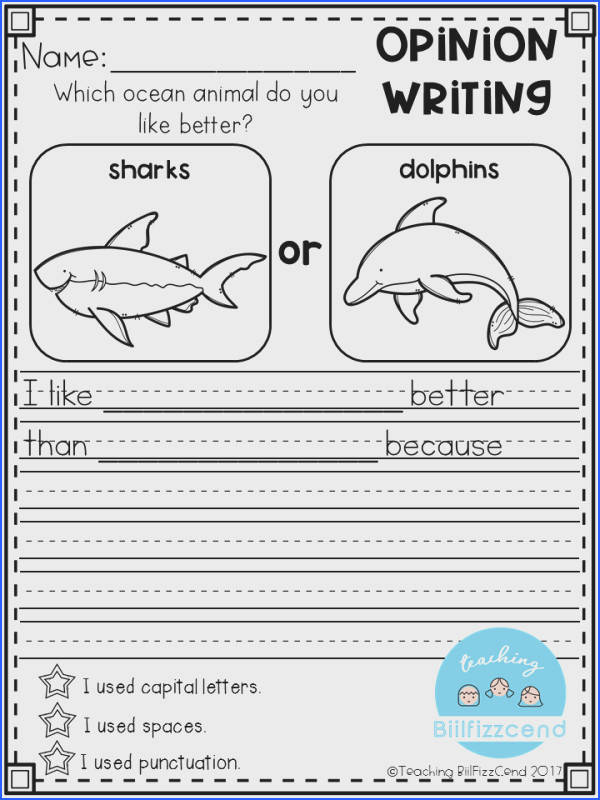 Writing Prompt Opinion Writing for first grade This is also great for kindergarten and