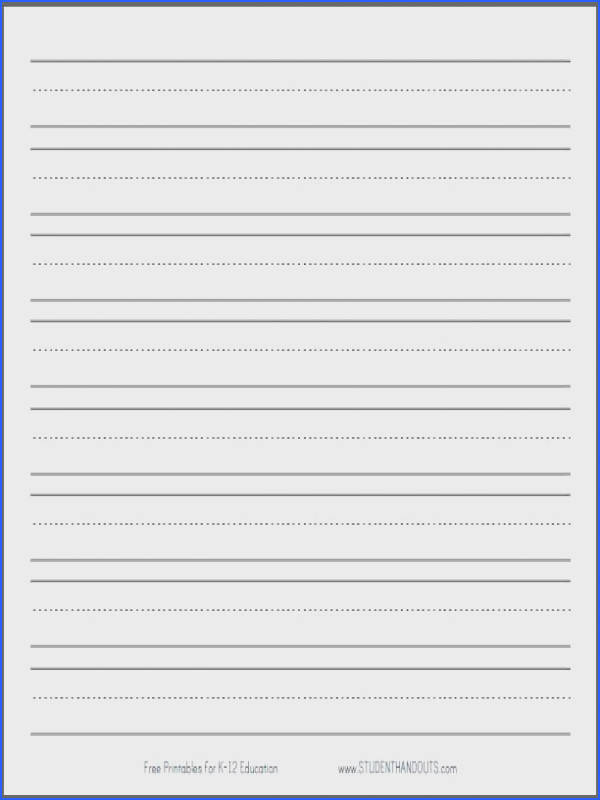 Free Handwriting Paper Template Primary Dashed Writing Paper With 1 Lines Student Handouts Print Kindergarten Writing Paper Handwriting Paper Template To