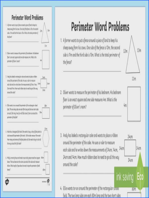 Y3 Perimeter Word Problems Worksheet Activity Sheet LKS2 calculate Y3 maths