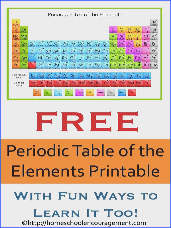 FREE Periodic Table of the Elements Printable
