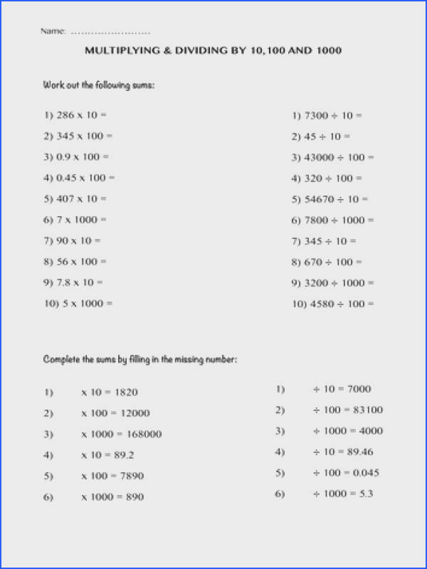 Multiplying And Dividing By 10 100 And 1000 By ImanKhan12