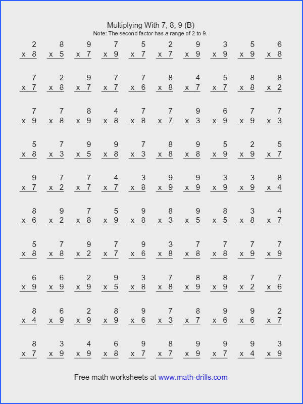 Multiplication Worksheet 100 Vertical Questions Multiplication Facts 6 by A
