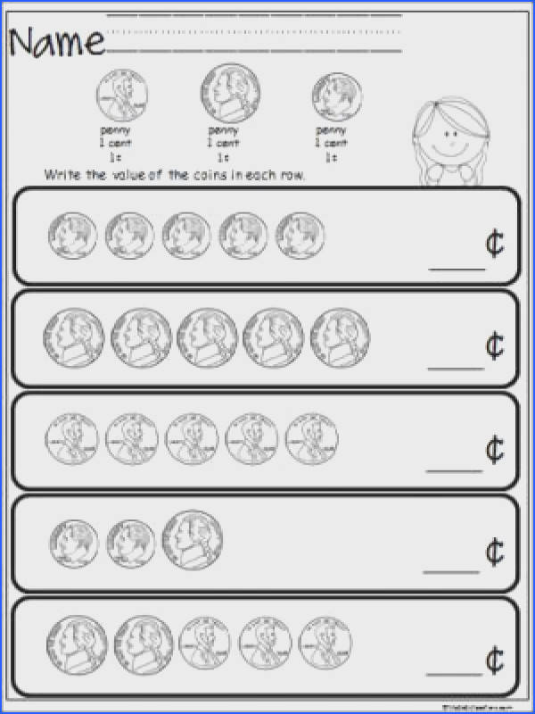 Free coin counting math worksheet Students practice adding pennies nickels and dimes