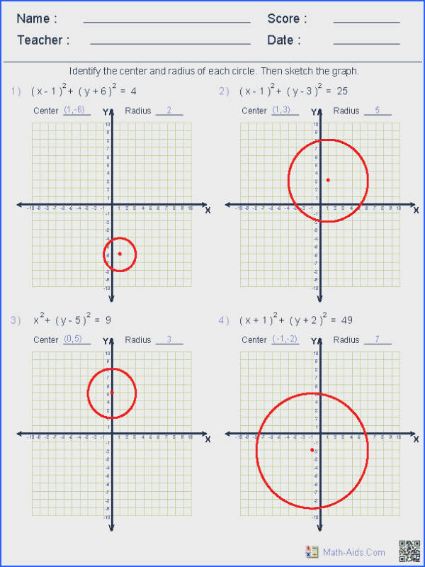 Find this Pin and more on g e d by mosesvernon60 These Dynamically generated worksheets are great for practicing graphing circle equations