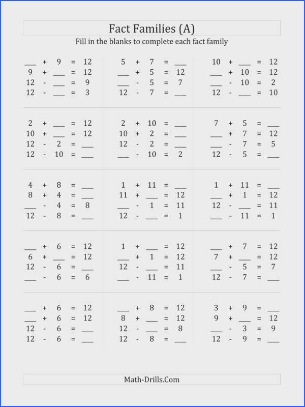 Family fact worksheets Addition and Subtraction Relationships with Sums to 10 C