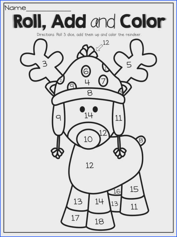 Roll 3 dice add them up and color the reindeer What a FUN and