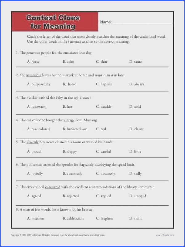 Here s a high school drill for using context clues for finding word meanings
