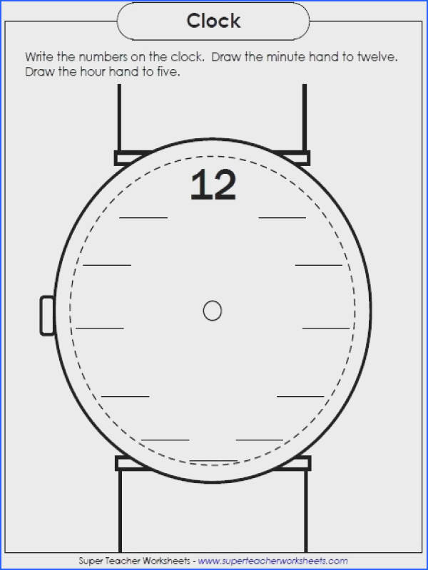 New Worksheet Write the numbers on the clock face