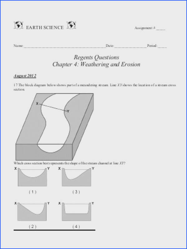Regents Questions Chapter 4 Weathering and Erosion