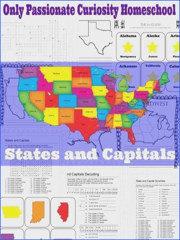 States and Capitals Printable Flash Cards and Worksheets